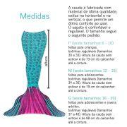 Conjunto Infantil Cauda de Sereia Azul e Rosa Princesa dos Oceanos Sirenita