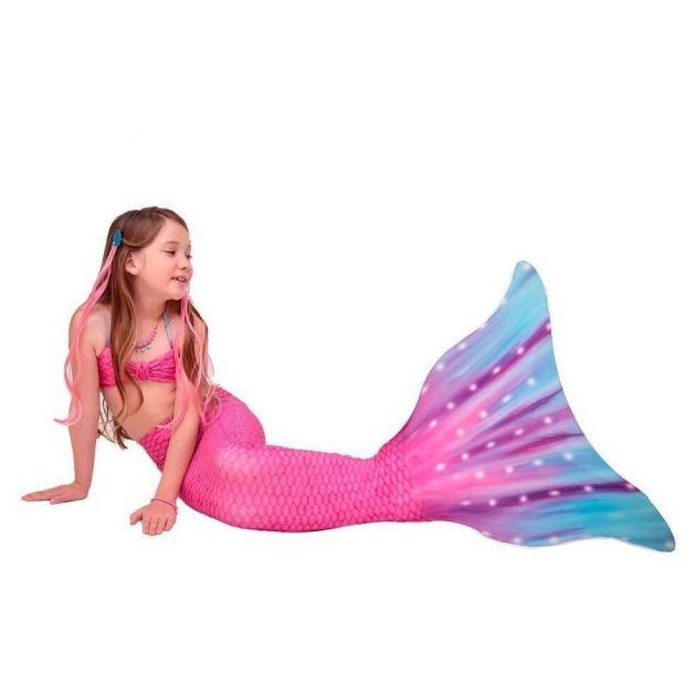 Conjunto Infantil Cauda de Sereia Rosa e Azul Celine Princesa Dos Oceanos Sirenita