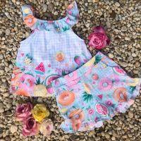 Conjunto Infantil Ciganinha e Shorts Salada de Frutas Mon Sucré