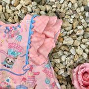 Conjunto Infantil com Babados Brincando no Jardim Coral Mon Sucré