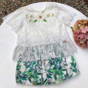 Conjunto Infantil com Bata de Renda Bordada Floral Tropical Off White Luluzinha