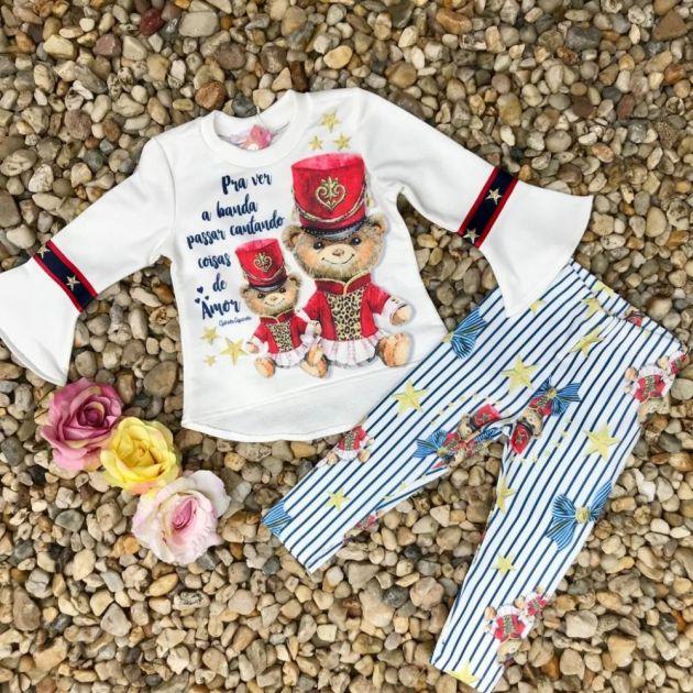 Conjunto Infantil com Legging Banda de Ursinhos Off White Gabriela Aquarela