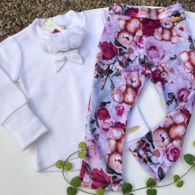 Conjunto Infantil com Legging Ursinho Carinhoso Bebelândia