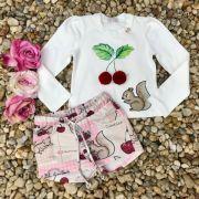 Conjunto Infantil com Pom Pom Esquilos e Cerejinhas Off White Luluzinha