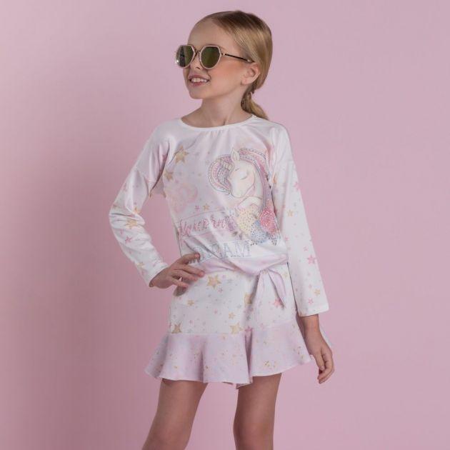 Conjunto Infantil com Strass Estampado Estrelas e Unicórnio Lilás e Off White Petit Cherie