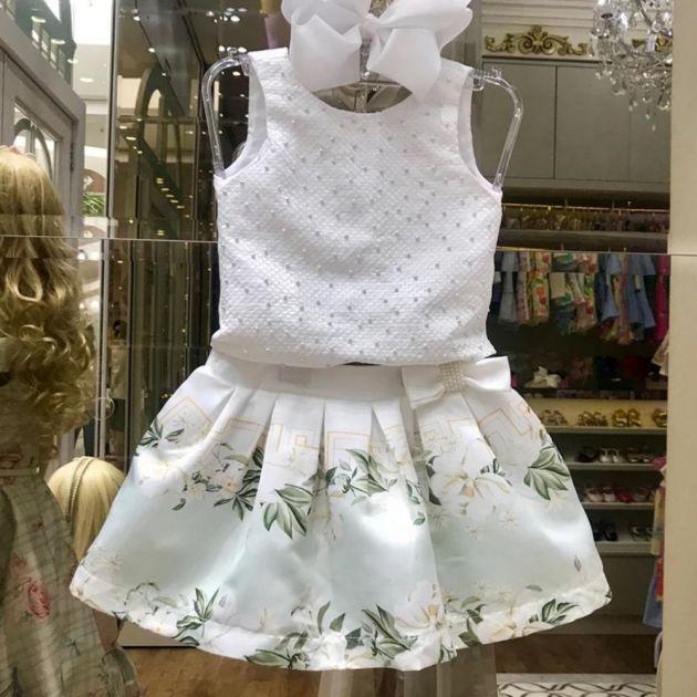 Conjunto Infantil Cropped Bordado com Pérolas White Flowers Petit Cherie