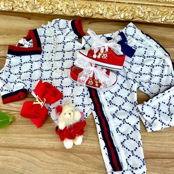 Conjunto Infantil Filha Blusa Manga Curta e Calça Branca Estampa Monocromática Azul Inspired Yoyo