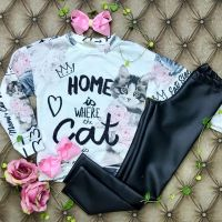 Conjunto Infantil Gatinho Home Is Where The Cat Is Luluzinha