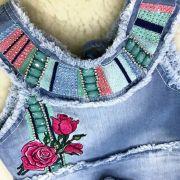 Conjunto Infantil Jeans Shorts e Blusa Bordada Sweet Roses Kukixo
