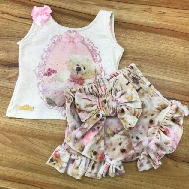 Conjunto Infantil Shorts Balonê com Strass Querida Ursinha Yoyo