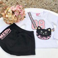 Conjunto Infantil Shorts de Moletom e Blusa Bolsinha de Gatinha Momi