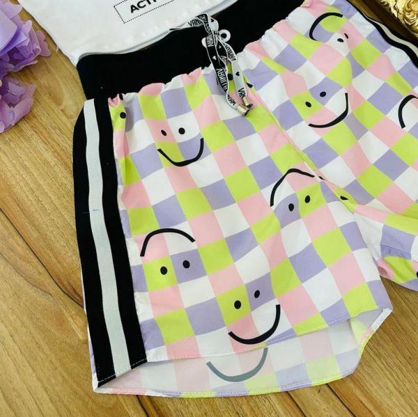 Conjunto Teen Blusa Off White Estampada e Shorts  Smile Vanilla Cream