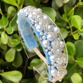 Headband Infantil Bordado Pérolas Azul Euro Baby