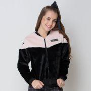 Jaqueta Teen Bomber de Pelúcia Comfort Fashion Preta Vanilla Cream