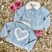 Jaqueta Infantil Jeans com Babados Chic Charm Gabriela Aquarela