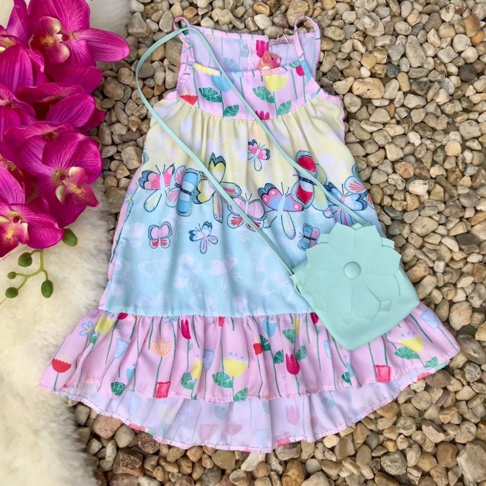 ab0eccc74 Vestido Infantil Jardim Florido Das Borboletas Com Bolsa Mon Sucre ...