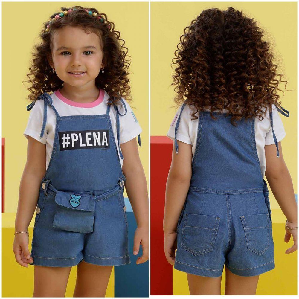 Jardineira Infantil Jeans Estampado Plena Turma da Mônica Com Pochete Mon Sucré