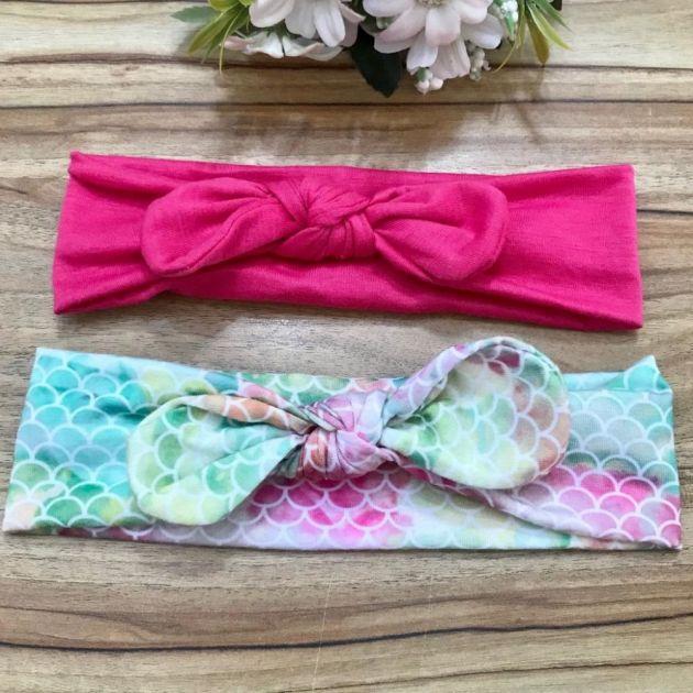 Kit Infantil Duas Headbands de Algodão Nó Estampa de Sereia Euro Baby