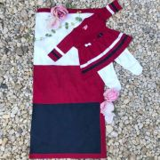Kit Saída de Maternidade de Tricot Listras e Lacinhos Vermelhos Euro Baby