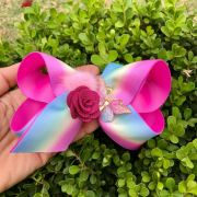 Laço Infantil Rosa Magenta com Boboleta e Flor Euro Baby
