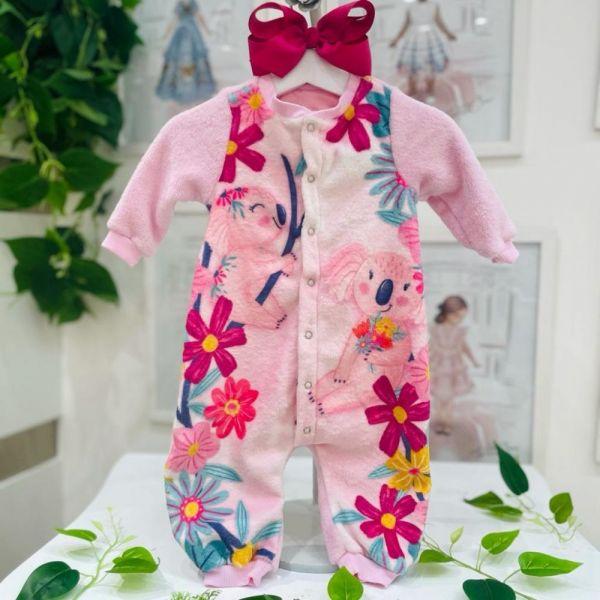 Macacão Infantil de Plush Rosa Estampado Coala Flowers Cute Mon Sucré