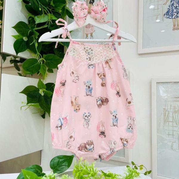 Macacão Infantil Rosa Sweet Dogs Fofinhos Com Bordado e Pedrinhas Petit Cherie