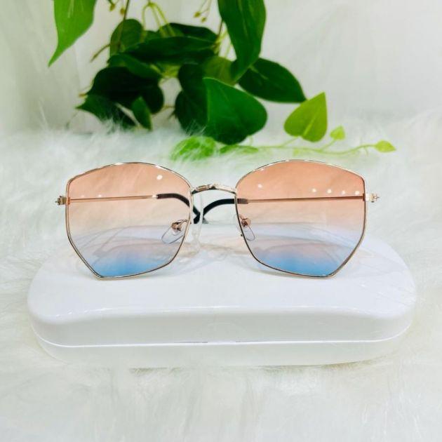 Óculos Infantil Formato Hexagonal Lente Degradê Laranja e Azul Euro Baby
