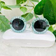 Óculos Infantil Redondo Azul Lente Preto Par Amour Gucci Inspired Euro Baby