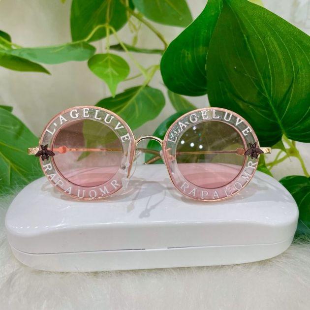 Óculos Infantil Redondo Rosa Claro Lente Rosa Par Amour Gucci Inspired Euro Baby