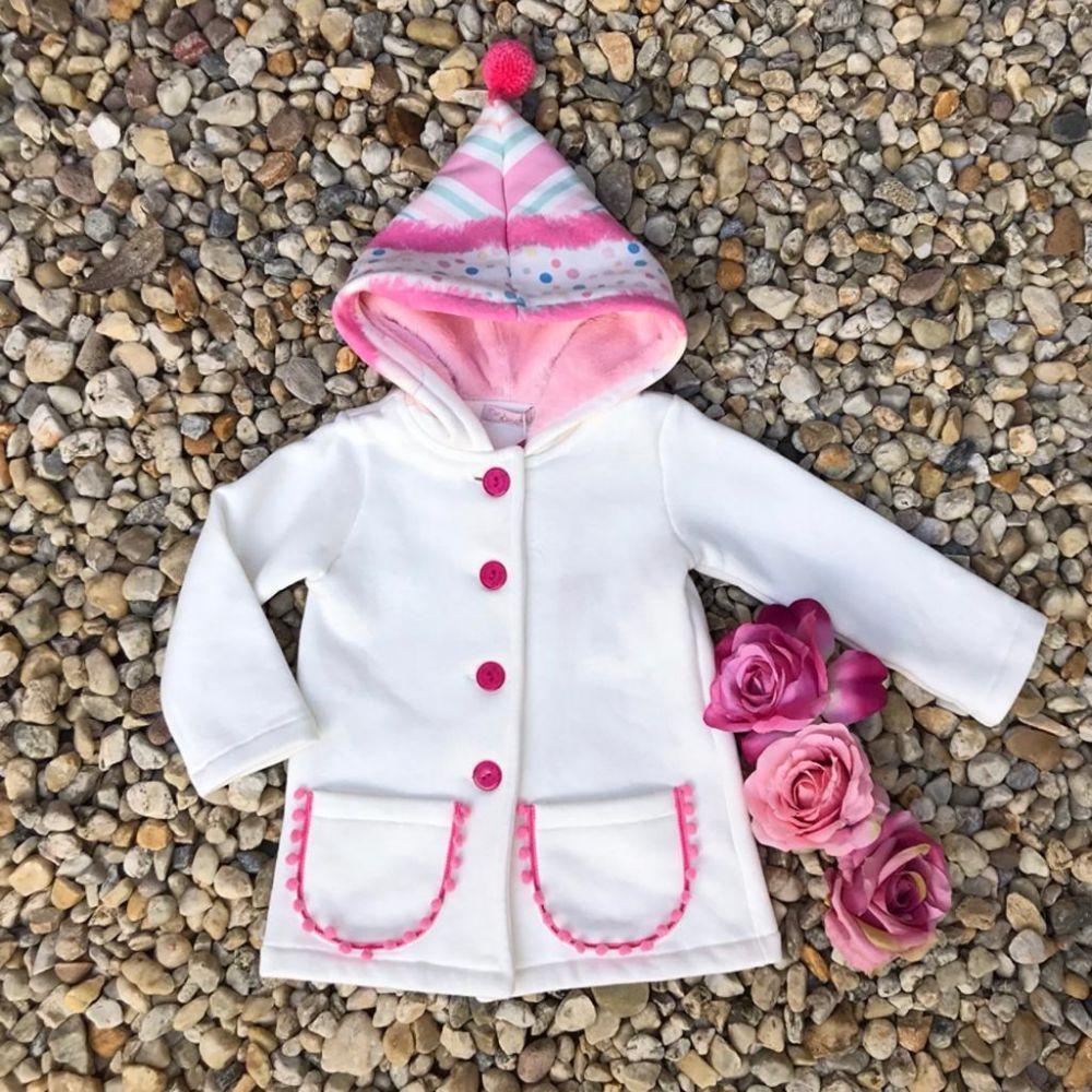 ae3558453c Casaco Infantil Off White Pompom Capuz Mon Sucre na Euro Baby Kids