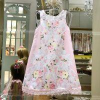 Vestido Infantil Rosa Barra Renda Petit Cherie