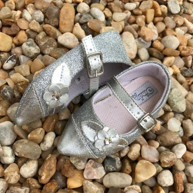 Sapatilha Infantil com Glitter Glam Prata Dinda Baby