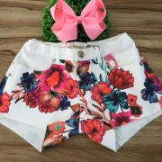 Shorts Teen Off White Estampa Floral Cós com Stretch Spring Time Pura Mania Kids