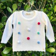 Suéter Infantil de Tricot com Pom Pons Coloridos Off White Mini Lady