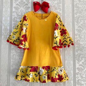 Vestido Infantil Veludo Laranja Floral Precoce