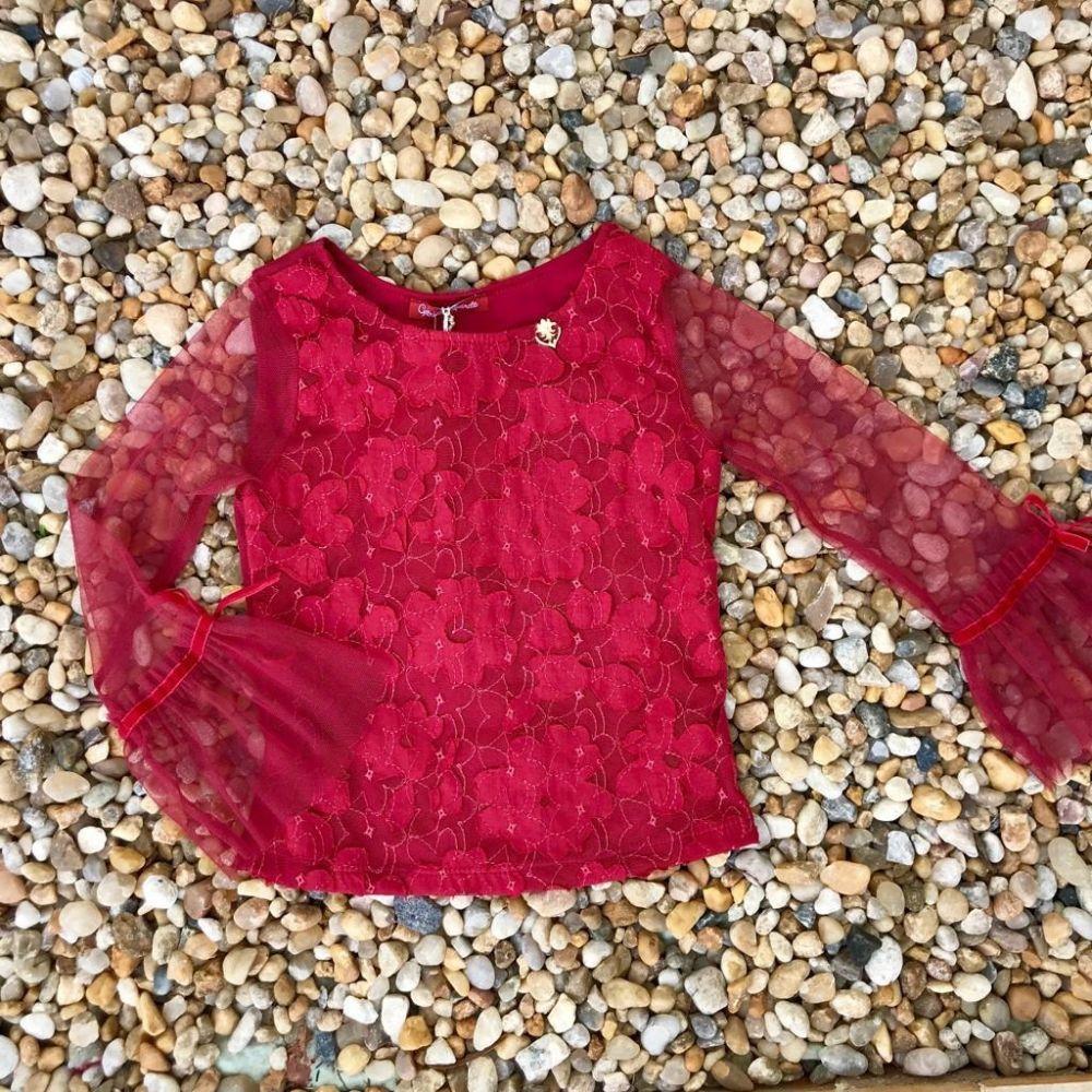 d7c9f89178483 Blusa Infantil Vermelha Renda Flare Gabriela Aquarela na Euro Baby Kids