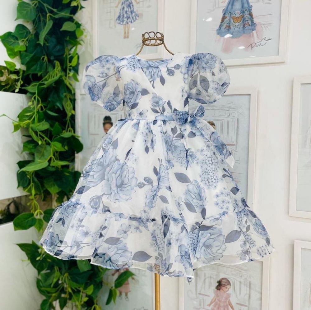 Vestido de Festa Infantil Midi Manga Bufante Estampado Floral Azul Winter Babados Petit Cherie