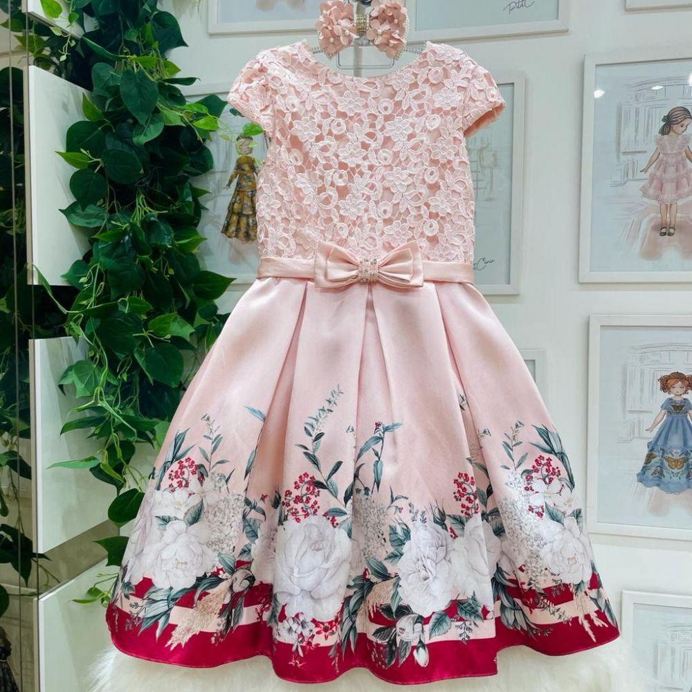 Vestido de Festa Infantil Rosa Renda Laço Aplicação em Pedrinhas Rosas Charmosas Petit Cherie