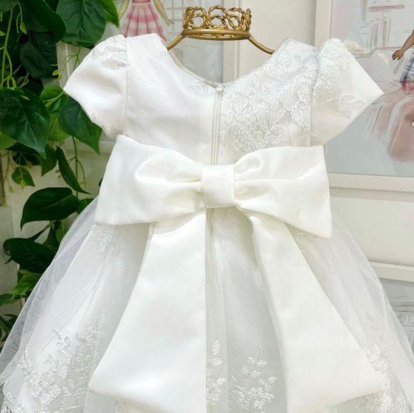 Vestido de Festa Infantil Sobreposição Tule Bordado em Rendas e Cinto em Pérolas Petit Cherie