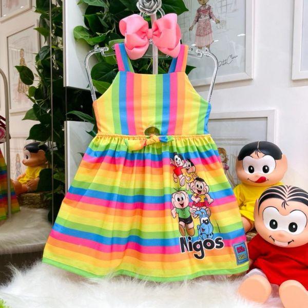 Vestido Infantil Alça Listrado Arco Íris Turminha da Mônica Memes Mon Sucré