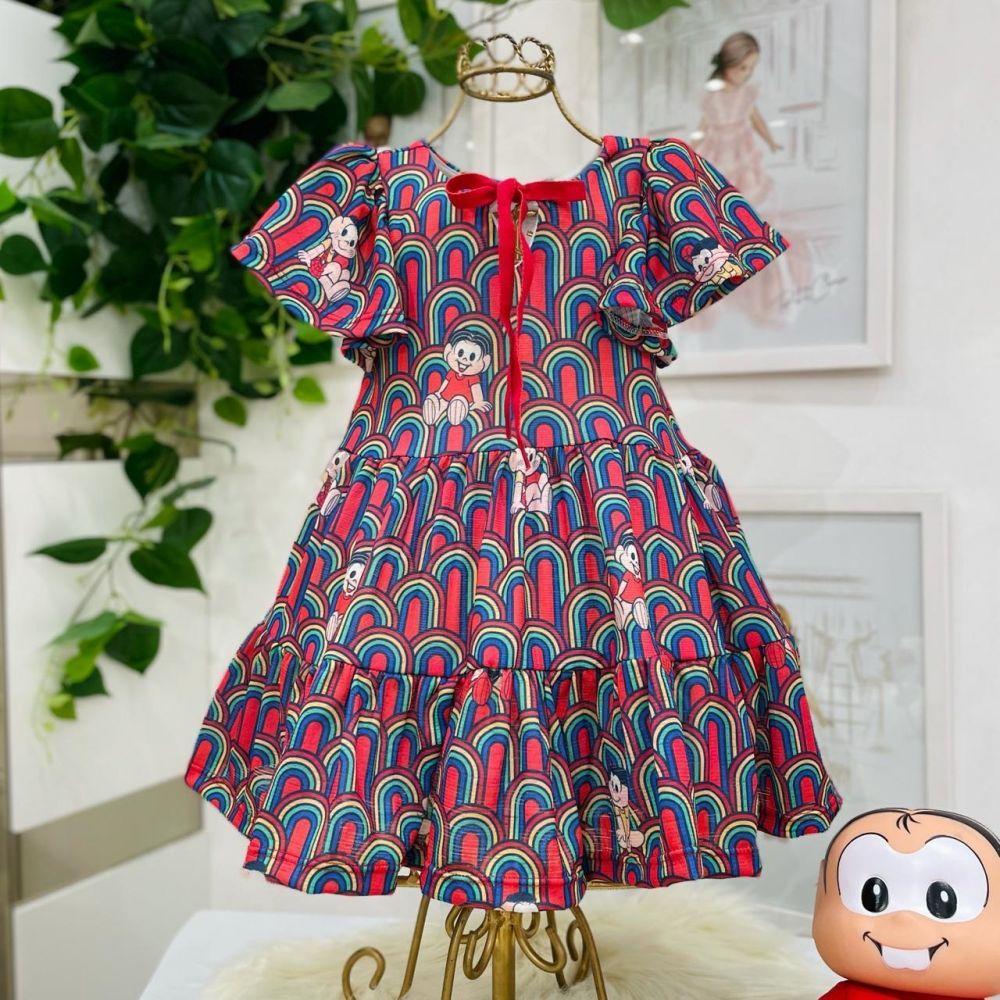 Vestido Infantil Babados Vermelho Estampado Turma da Mônica Mon Sucré