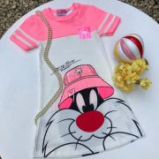 Vestido Infantil Canelado Off White e Rosa Neon Looney Tunes Frajola Com Bucket Momi