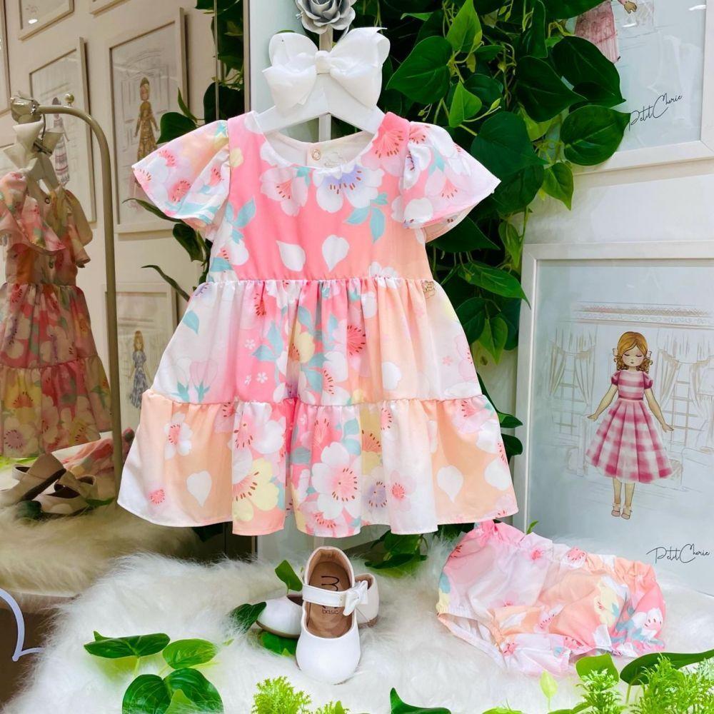 Vestido Infantil Com Calcinha Babados Estampado Flores Candy Mon Sucré