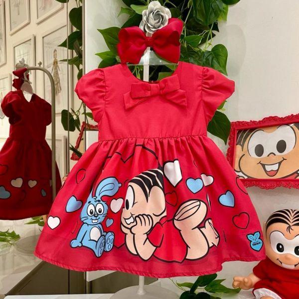 Vestido Infantil Com Calcinha Vermelho Mônica e Sansão Lover Mon Sucré