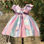 Vestido Infantil com Lacinho Listrado Candy Colors Kopela