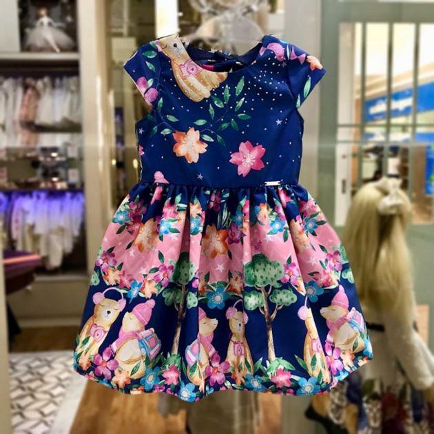 Vestido Infantil com Strass Acampamento Estrelado dos Ursos Mon Sucré