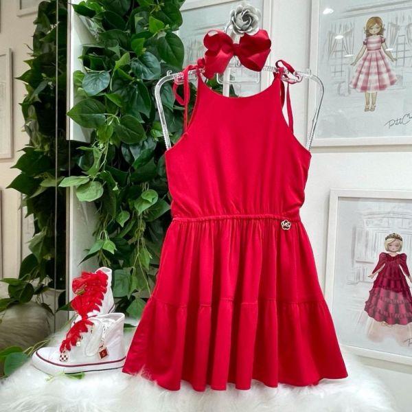 Vestido Infantil de Alça em Camada Babados Vermelho Happy Time Mon Sucré