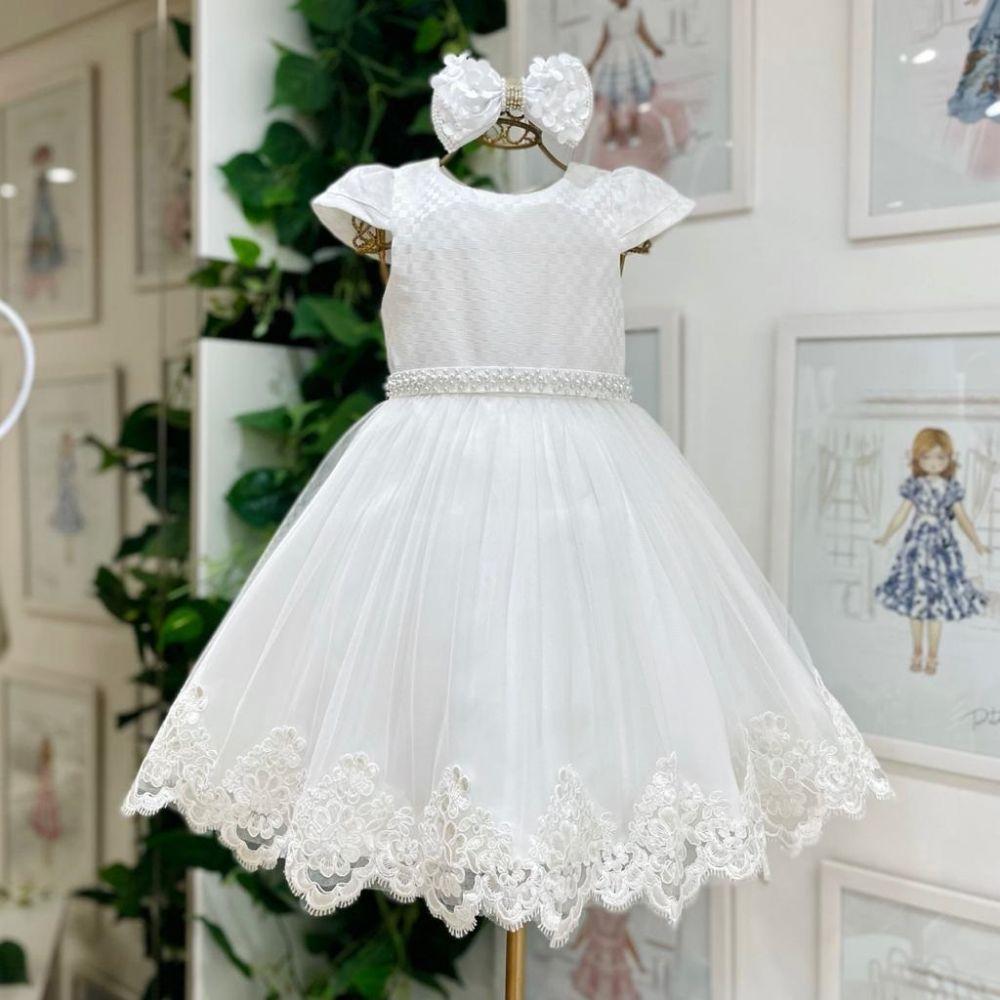 Vestido Infantil de Festa Branco Com Mini Pérolas Sobreposição Tule e Barrado Renda Bordada Petit Ch