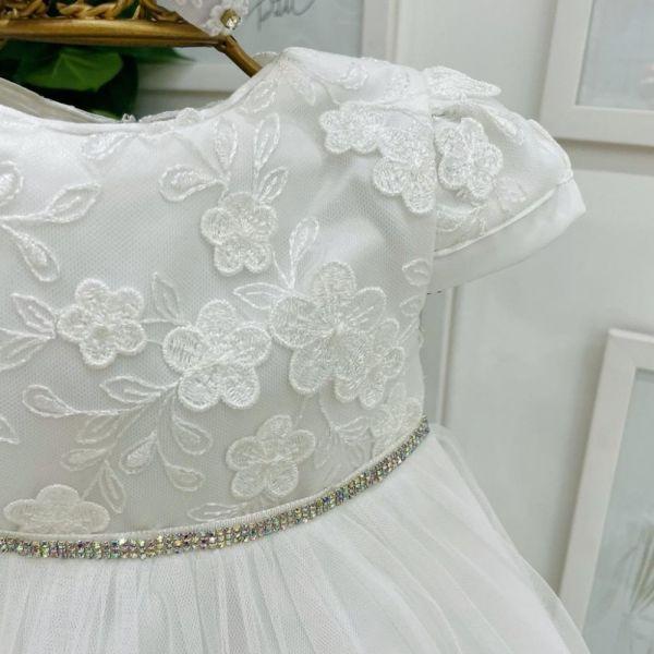 Vestido Infantil de Festa Branco Renda Bordada Flower e Barrado Tule Franzido Baby Shine Petit Cheri