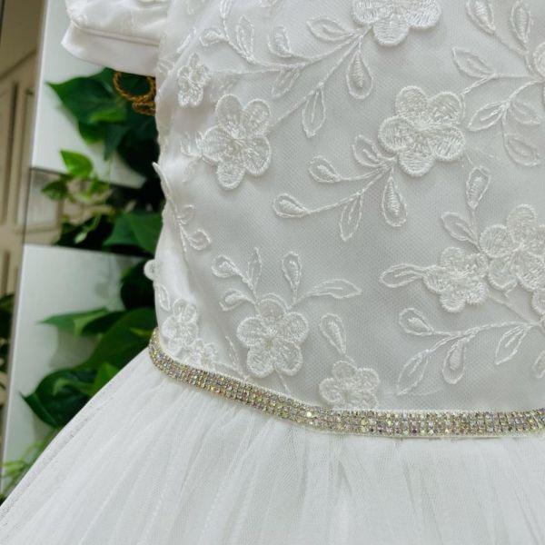 Vestido Infantil de Festa Branco Renda Bordada Flower e Barrado Tule Franzido Shine Petit Cherie